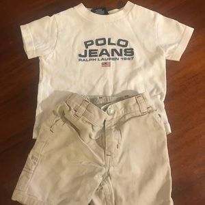 Polo by Ralph Lauren 12 months shirt and short set